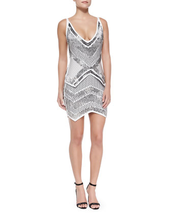 Juliet Geometric Beaded Bandage Dress