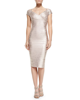Kelis Woodgrain Foil Sheath Dress