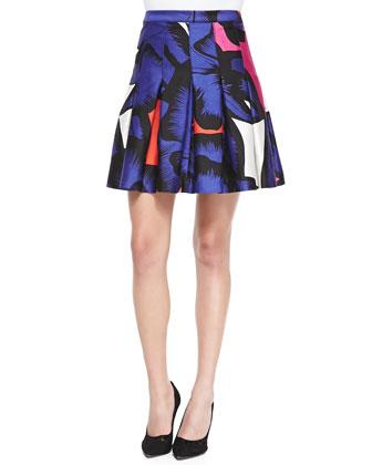 Gemma Floral Box-Pleated Skirt