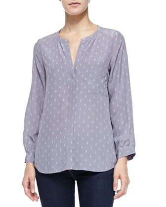 Hanelli Diamond-Print Button-Front Top