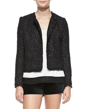 Calimesa Shimmery Tweed Fringe Jacket