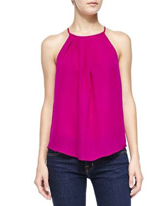 Amarey Pleated-Front Sleeveless Blouse