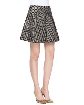 Magician Diamond Woven Pleated Mini Skirt
