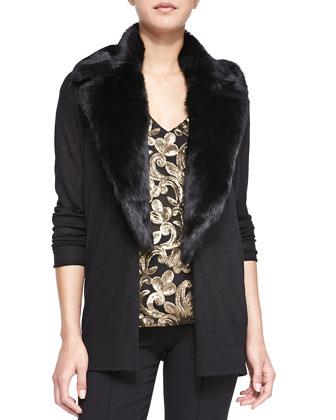 Backstage Cardigan with Fur Collar