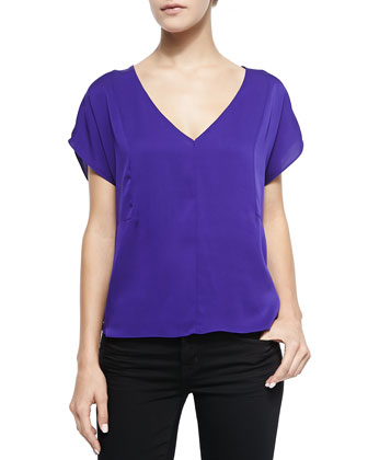 Seamed Dolman-Sleeve Blouse