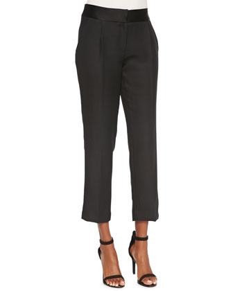 Tuxedo Pleated Crepe Pants