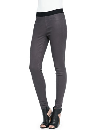Tristen Denim-Stretch Leggings, Gray
