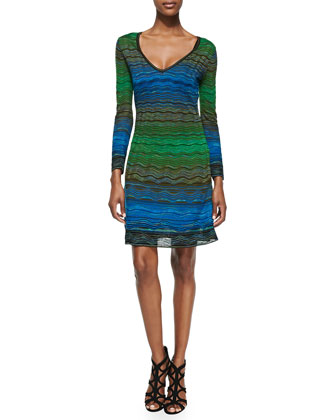 V-Neck Degraded Ripple-Knit Dress