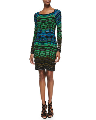 Long-Sleeve Fancy Ripple-Knit Dress