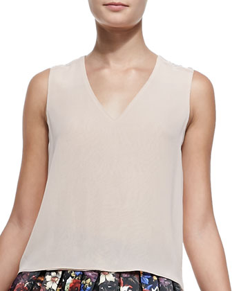 V-Neck Lace-Shoulder Tank