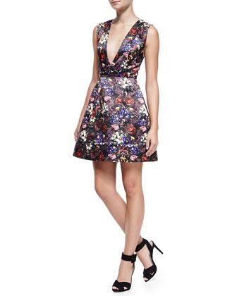 Kiro Deep-V Floral-Print Dress