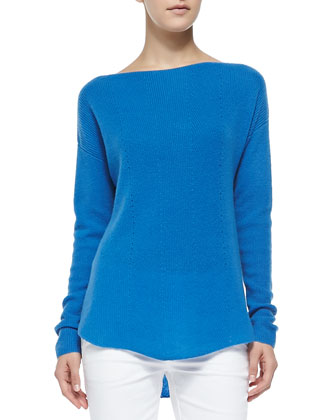 Cashmere Ribbed Boatneck Sweater