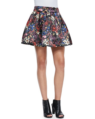 Fizer Pleated Floral-Print Skirt