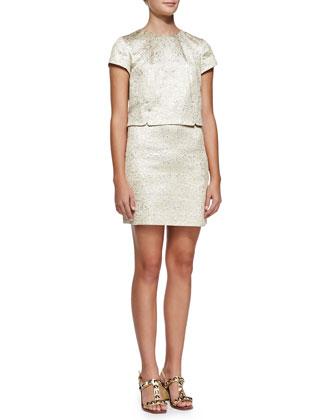Brielle Metallic-Brocade Dress