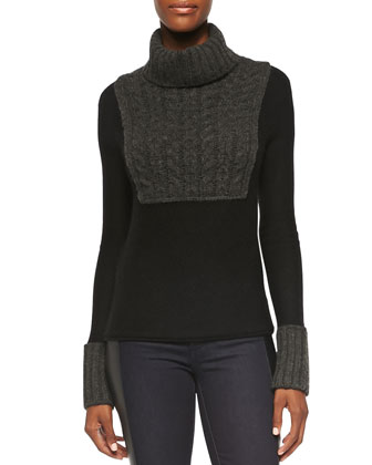 Gretchen Mixed-Knit Turtleneck Sweater, Black/Charcoal