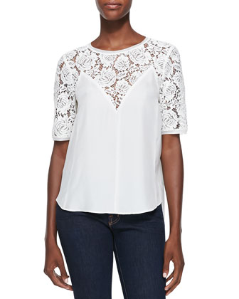 Lace-Top Silk Blouse