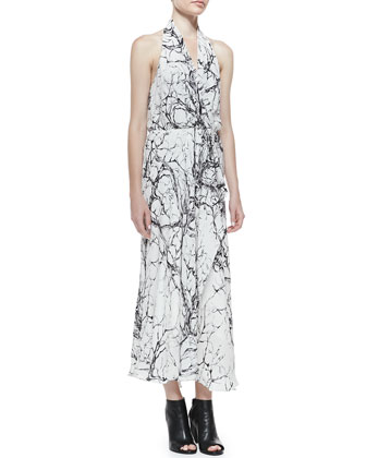 Love Me Printed Halter Maxi Dress