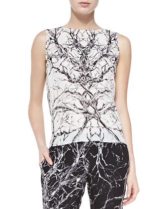 Branch-Print Cowl-Back Top