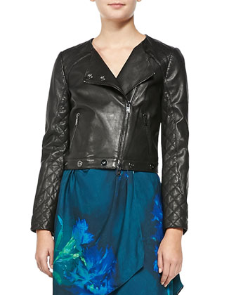 Quilted Leather Asymmetric Moto Jacket