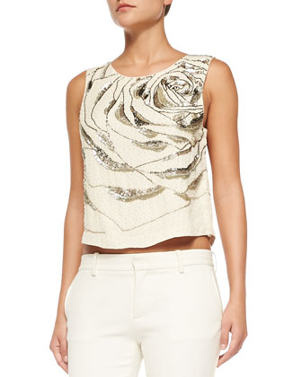 Silk Large Abstract Rose Top