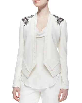 Raw-Edge Beaded Open Blazer