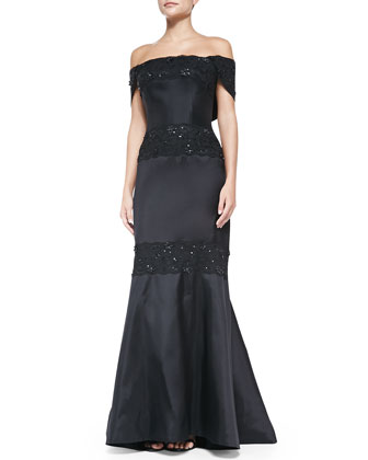 Off-the-Shoulder Gown with Lace, Black