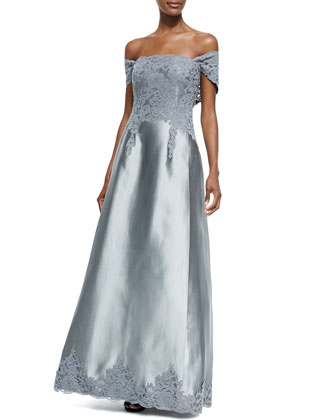 Off-the-Shoulder Lace-Bodice Gown