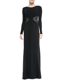 Lace-Inset Gathered Jersey Gown