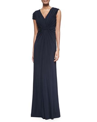 Cap-Sleeve Jersey Gown, Navy