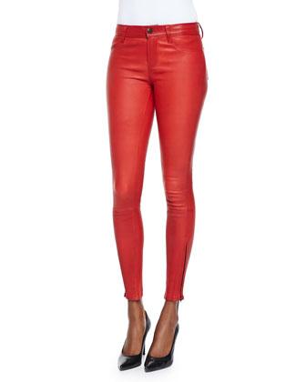 Leather Zipper-Cuff Skinny Pants, Rebel Red
