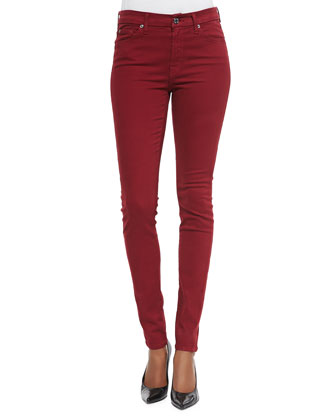 Mid-Rise Skinny Jeans, Cranberry