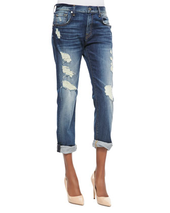 Relaxed Skinny Shredded Jeans