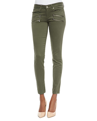 Edgemont Ultraskinny Zip-Pocket Jeans, Pine Green