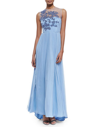 Leticia Sleeveless Embroidered-Bodice Gown