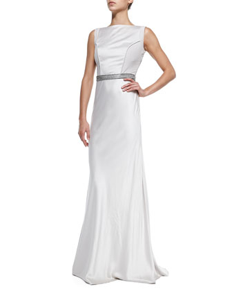 Zyla Sleeveless Satin Beaded-Back Gown
