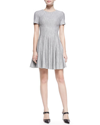 Daria Knit Paneled Short-Sleeve Fit & Flare Dress