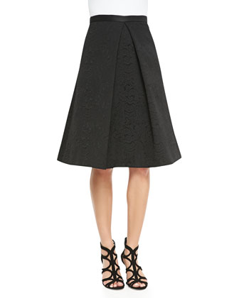 Lia Jacquard Center-Pleat Full Skirt