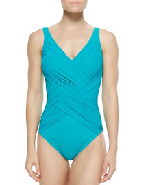 Lattice-Wrapped One-Piece Swimsuit, Jade