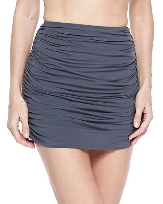 Shirred Mini Swim Skirt, Pewter