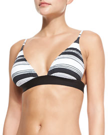 Banded Bikini Top with Stripes