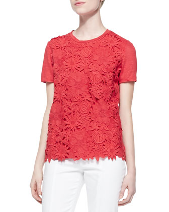 Katama Embroidered Floral Tee, Red Pepper