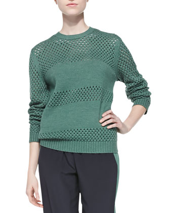 Leona Open-Stitch Paneled Sweater