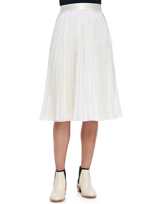 Pleated Iridescent A-Line Skirt