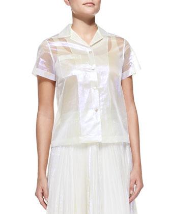 Short-Sleeve Sheer Iridescent Blouse