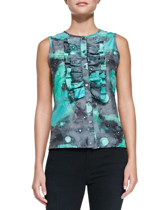 Stargazer Printed Ruffle-Front Top