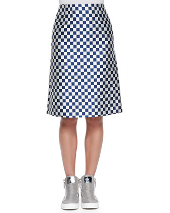 Checkerboard Jacquard A-Line Skirt