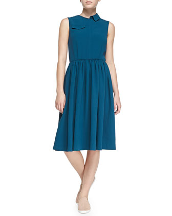 Yumi Crepe Patch-Pocket Dress