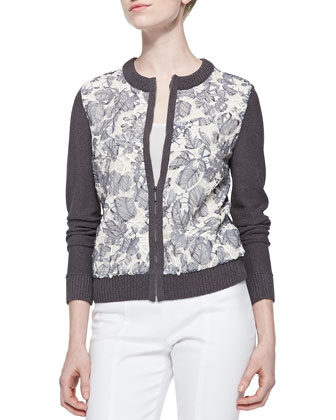 Etta Embroidered Zip Cardigan