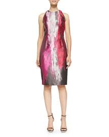 Sleeveless Paintbrush-Print Cocktail Dress