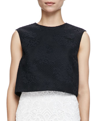 Sleeveless Floral Mesh Crop Shell, Noir